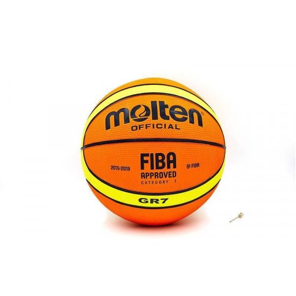 Мяч резиновый баскетбольный №7 MOLTEN (резина, бутил, оранжевый)