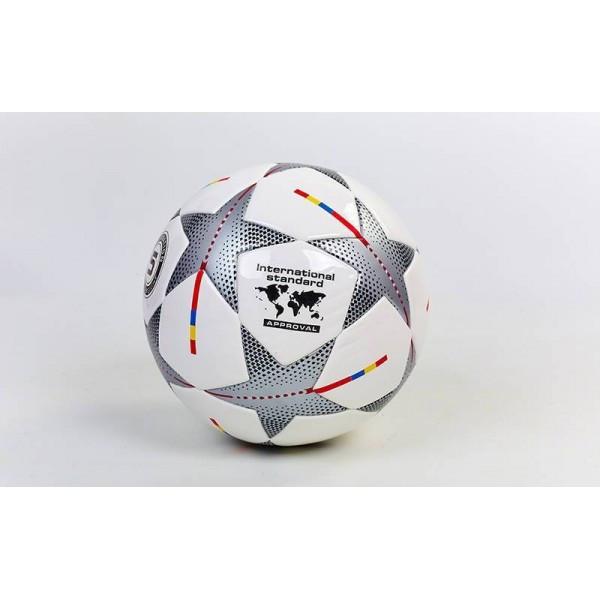 Мяч футбольный №5 PU ламин. Клееный CHAMPIONS LEAGUE (белый-серый)