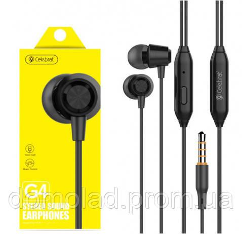 Вакуумні Навушники З Мікрофоном Гарнітура Celebrat G4 Чорні