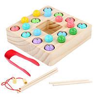 Деревянная игрушка Игра-рыбалка «Рыбки-шарики», развивающие товары для детей.