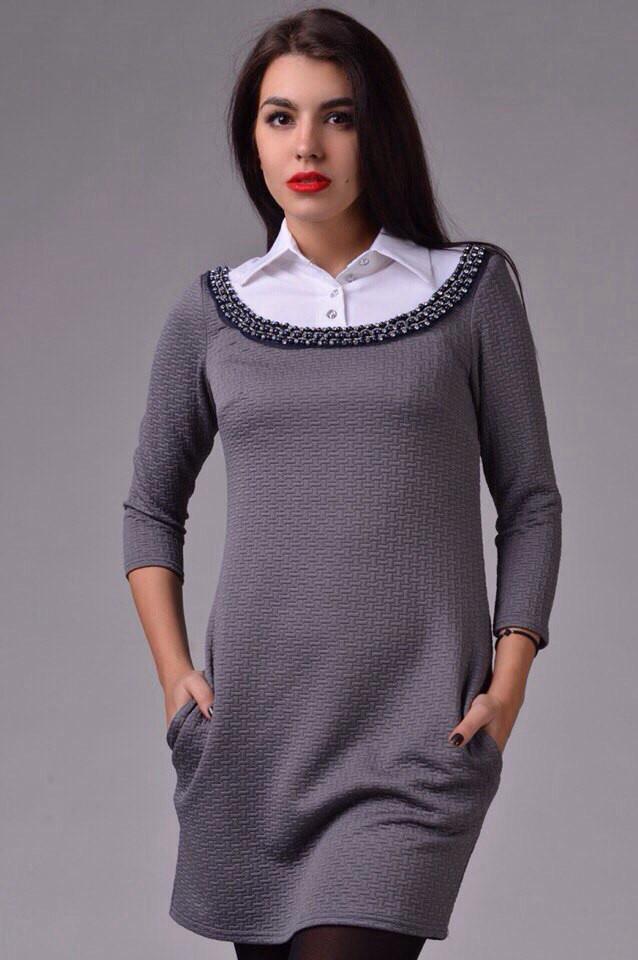 Платье с украшением джинс и бенгалин