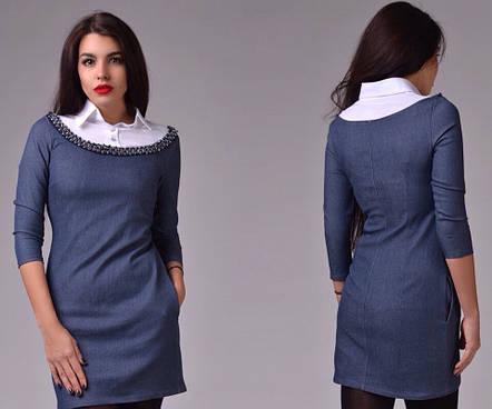 Платье с украшением джинс и бенгалин, фото 2