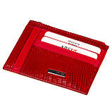 Кожаный картхолдер Karya 0022-074 с отделением для мелочи красный, фото 2