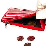 Кожаный картхолдер Karya 0022-074 с отделением для мелочи красный, фото 4