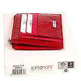 Кожаный картхолдер Karya 0022-074 с отделением для мелочи красный, фото 5