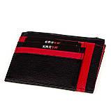 Кожаный картхолдер Karya 0022-45 с отделением для мелочи черный, фото 3