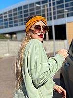 Повязка на голову женская демисезонная двойная чалма тюрбан шерсть желтая