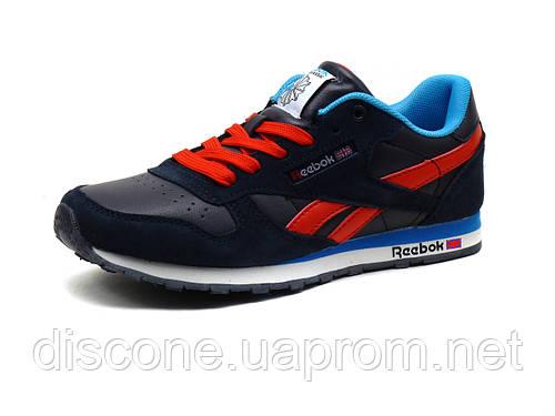 Кроссовки Reebok classic унисекс темно-синие/замшевые вставки/красный шнурок