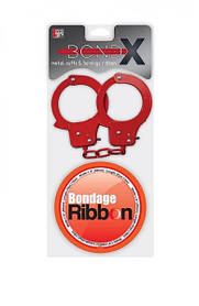 Набор BONDX METAL CUFFS AND RIBBON, RED