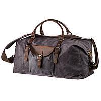 Стильная дорожная сумка с карманом Vintage 20114 Серая