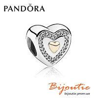 Шарм Pandora НАВСЕГДА В МОЕМ СЕРДЦЕ 791523CZ серебро 925 Пандора оригинал, фото 1