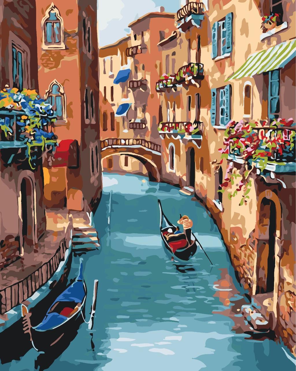 КНО2153 Раскраска по номерам Солнечная Венеция, Без коробки