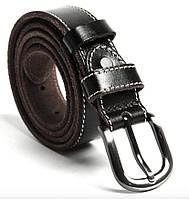 Ремень унисекс со строчкой по краям Vintage 20125 Темно-коричневый