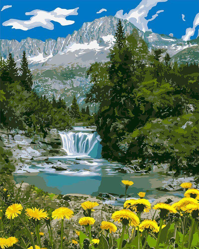 KHO2283 Картина для рисования по номерам Горный ручей, Без коробки