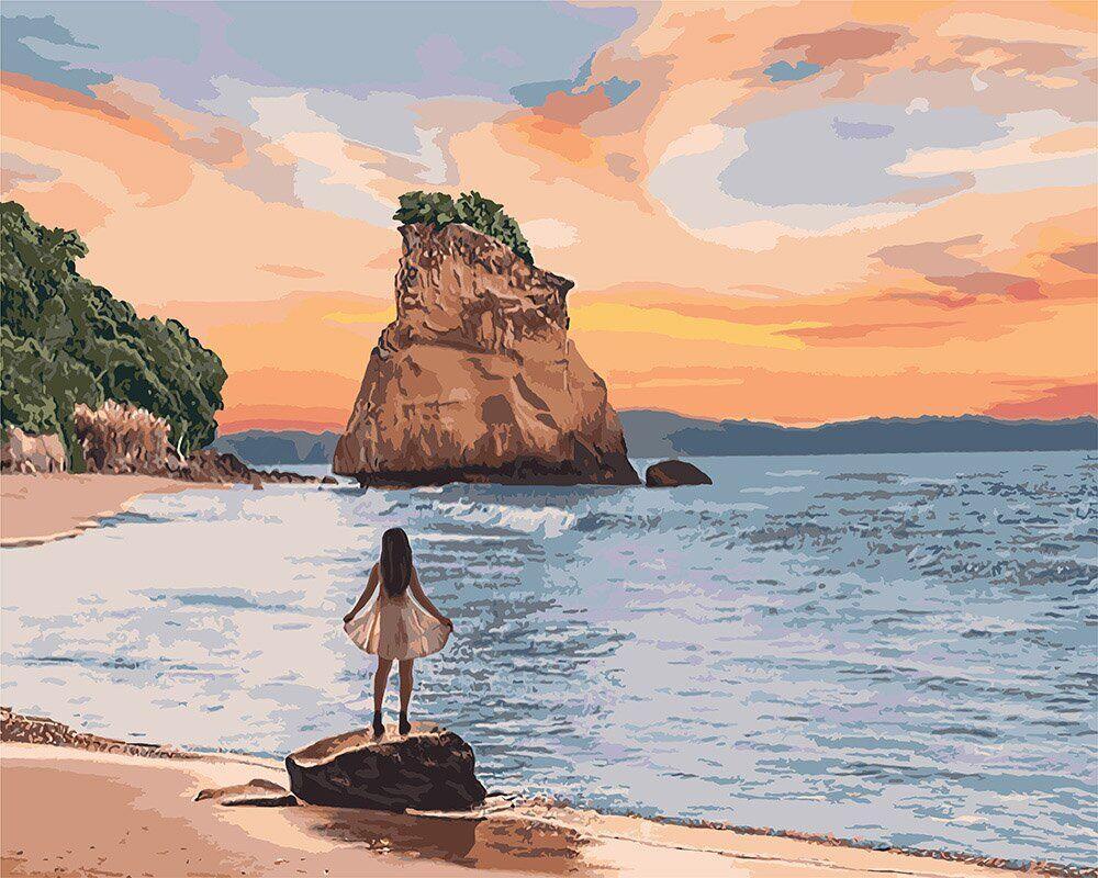 KHO4727 Картина для рисования по номерам Необитаемый остров, Без коробки