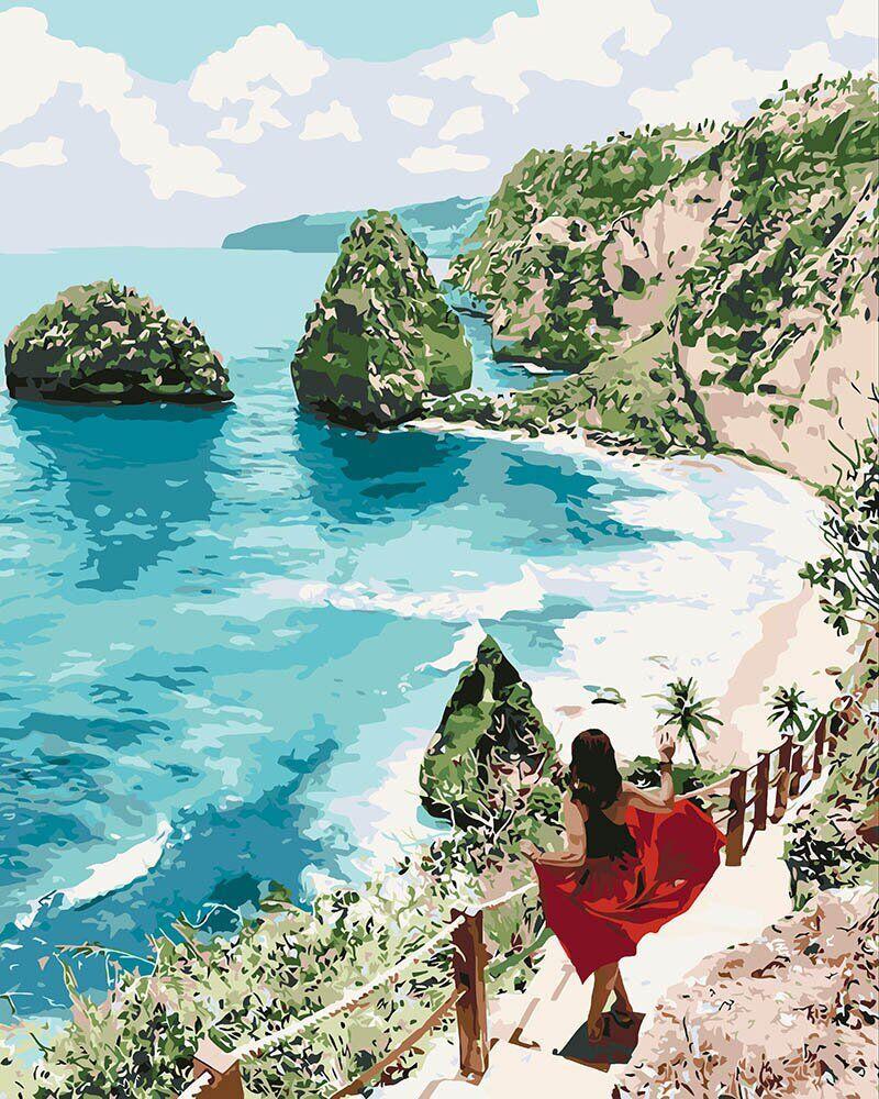 KHO4734 Картина для рисования по номерам Бриллиантовый пляж, Без коробки