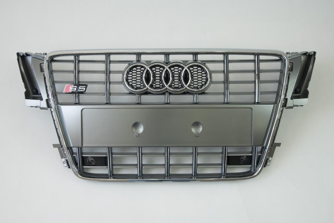 Решетка радиатора Тайвань Audi S5 09-11г B8 Grill audi s5 10г Silver (hub_SAgt20813)