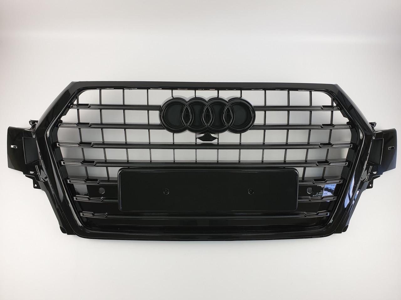 Решетка радиатора Тайвань Audi Q7 SQ7 16-19г Grill audi sq7 16г New full black (hub_TVJS32982)