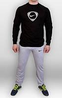 Спортивный костюм Найк, мужской костюм Nike серый, черная толстовка, трикотажный