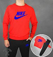 Спортивный костюм Найк, мужской костюм Nike черный, красная толстовка, трикотажный