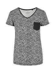 Женская леопардовая футболка с V-образным вырезом и карманом T-ELISE