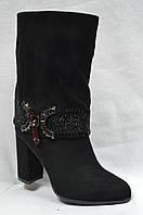 Черные  ботинки  из эко-замша с металлической вставкой на каблуке