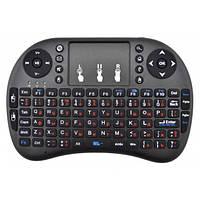 Беспроводная клавиатура с тачпадом аккумуляторная русская и английская розкладка пульт для Smart TV планшета смартфона UKC mini i8 2.4G черный