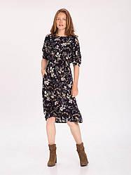 Воздушное платье-миди с цветочным принтом и эластичным поясом G - LILA