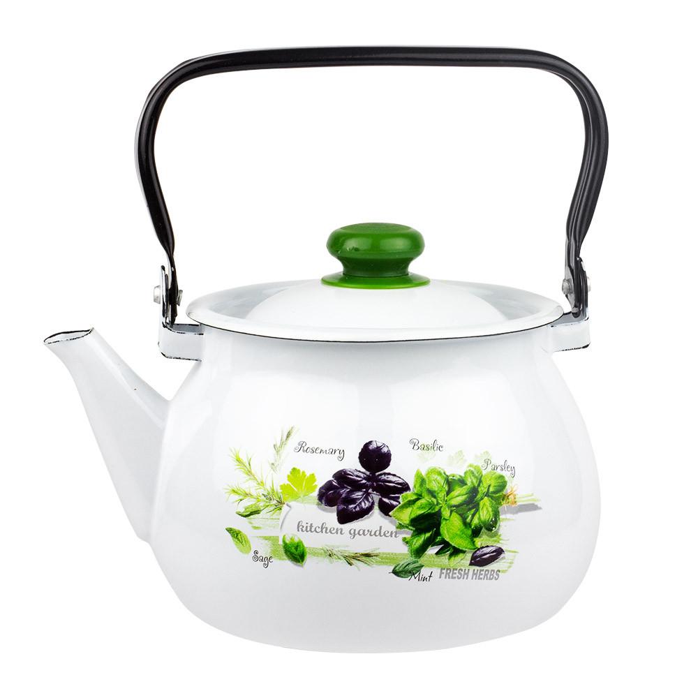 Чайник эмалированный Idilia 3,5 л Зелень фреш белый