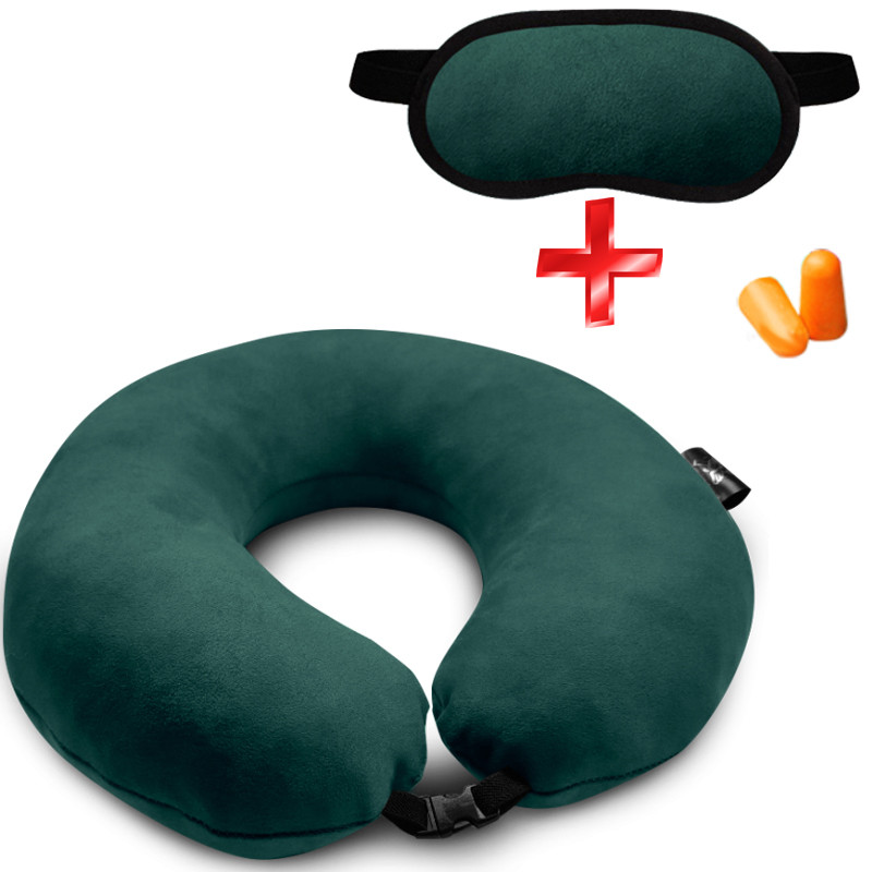 Подушка Coverbag для путешествий зеленая. маска для сна