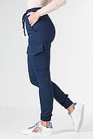 Джоггеры женские демисизонные из стрейч-котона синие VS 1087, фото 1