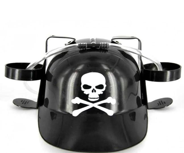 Шлем для пива Memos черный с черепом