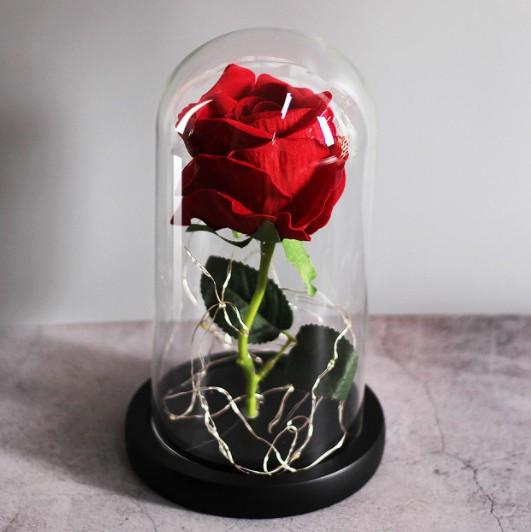 Роза в колбе с LED подсветкой UKC 16 см ночник романтический подарок Красный