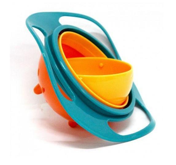 Детская тарелка - непроливайка Universal Gyro Bowl из экологически безопасного пластика Голубой с оранжевым