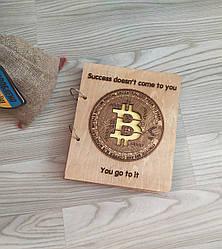"""Деревянный блокнот """"Биткоин"""" (на кольцах), ежедневник из дерева"""