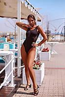 Купальник женский слитный с сеткой, черный, код G-010