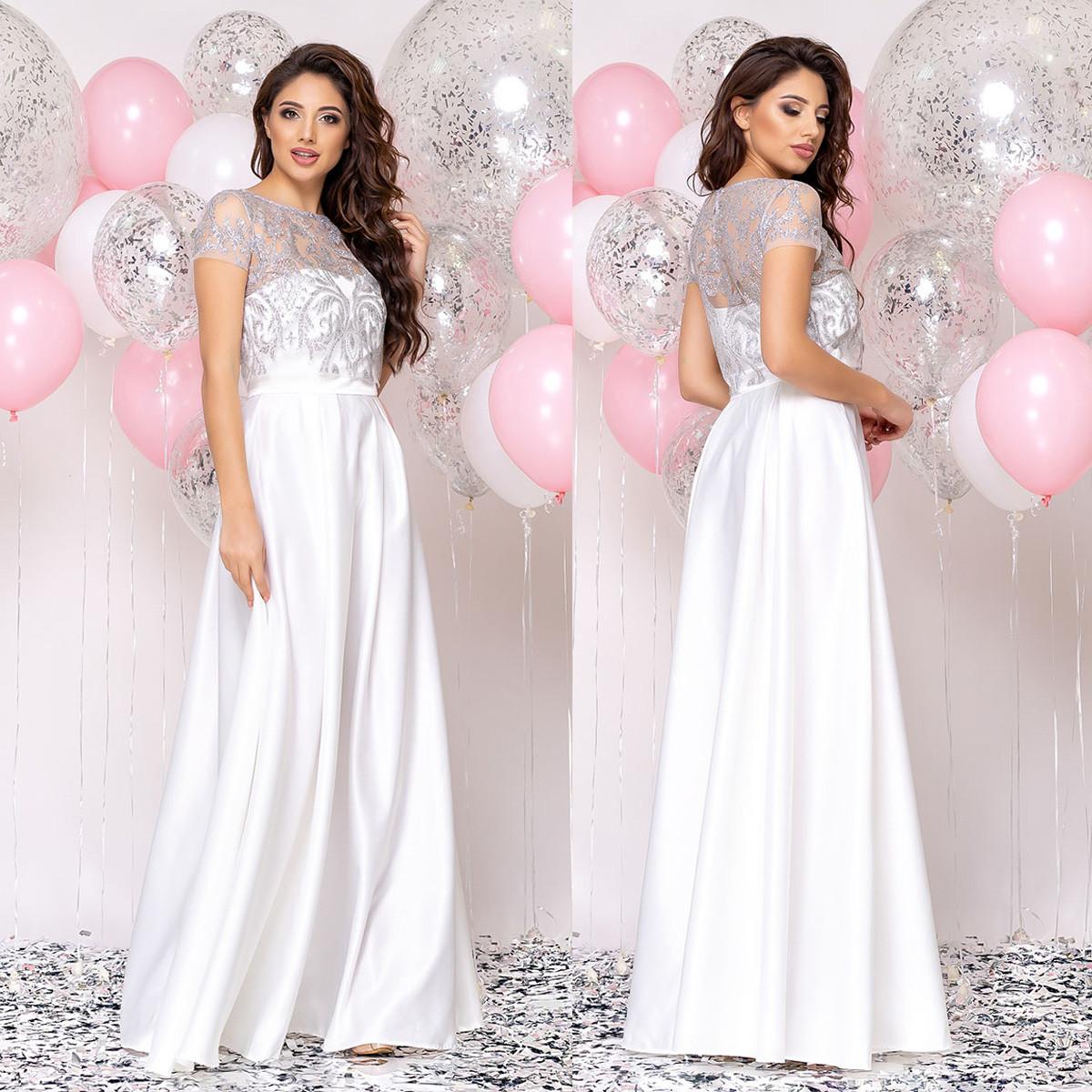 """Вечірній біле плаття в підлогу, весільне, на розписку """"Меллоні"""""""