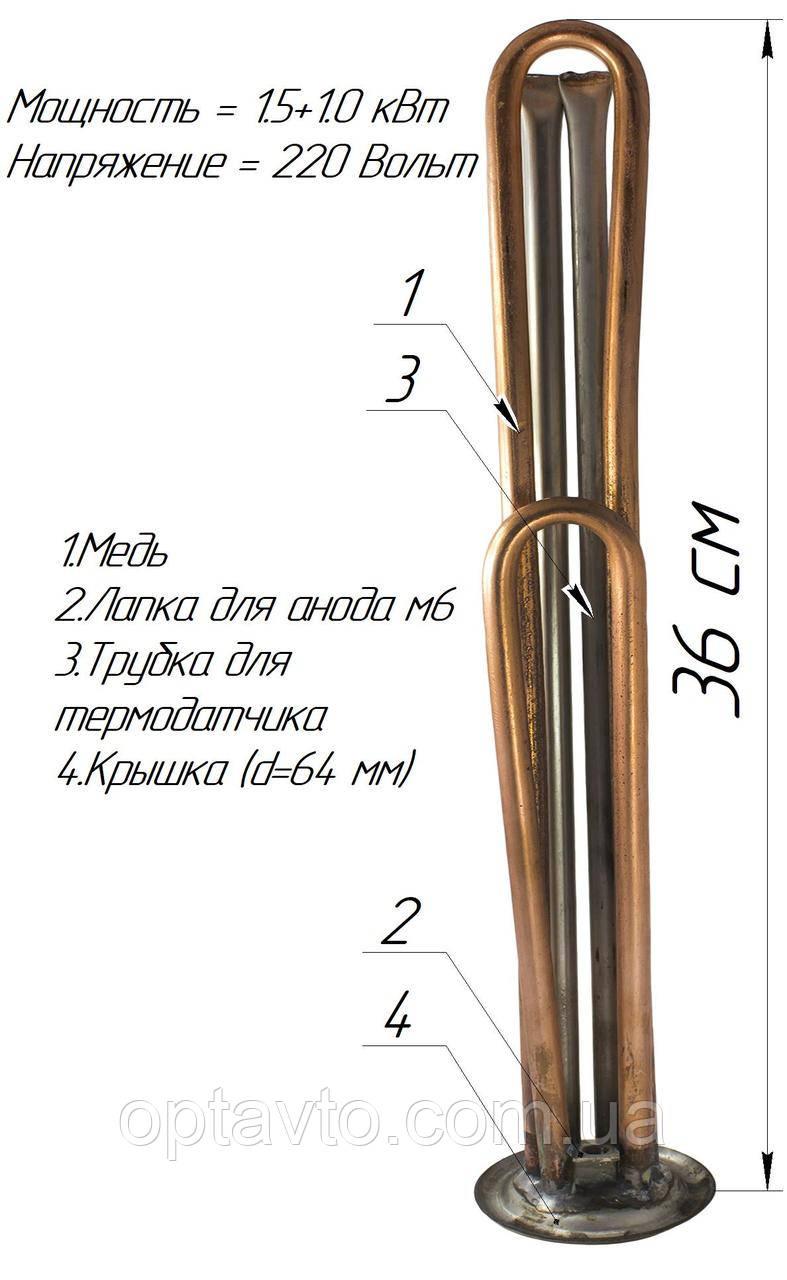Двойной ТЭН для бойлера, 1500+1000w ,с местом под анод м6, два термодатчика (Украина) Медь