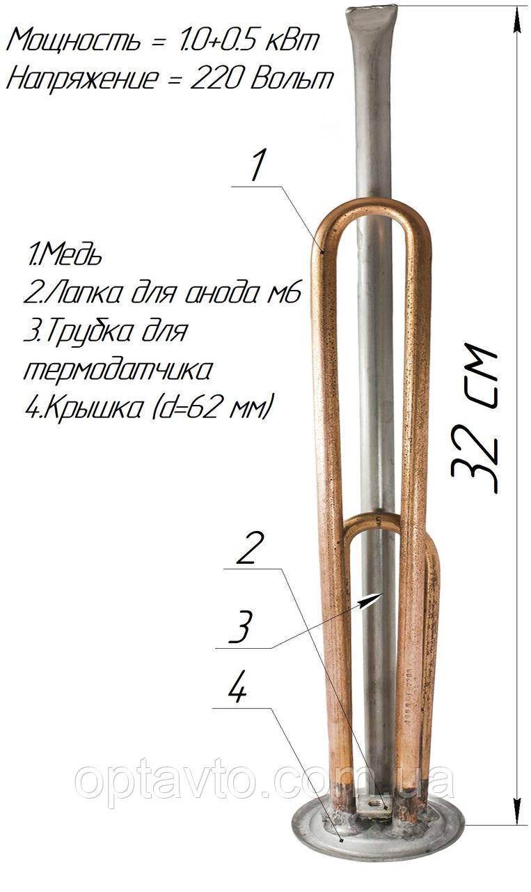 Двойной ТЭН для бойлера, 1000+500w ,с местом под анод м6, один термодатчик (Украина) медь