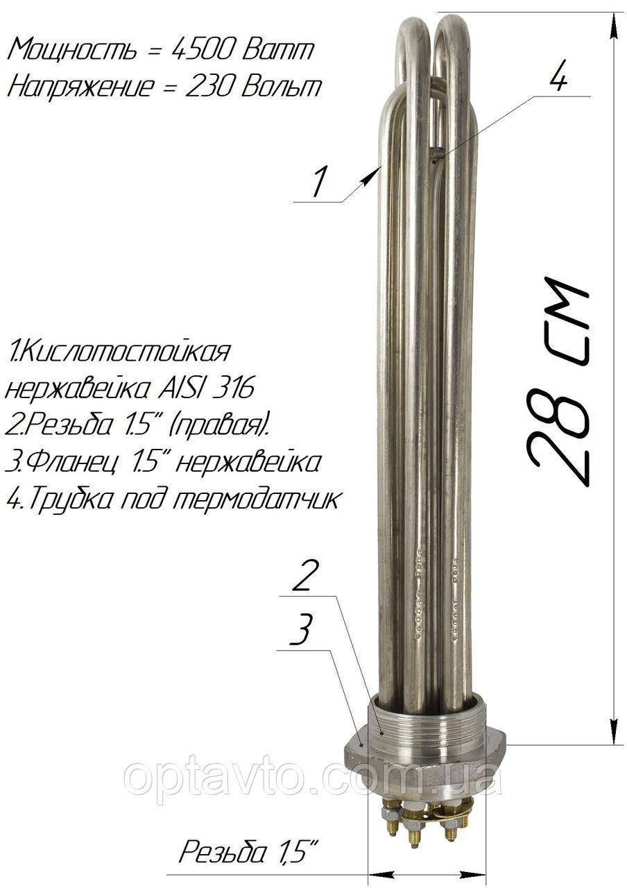 """Блок-ТЭН 4,5 кВт 1,5"""" нержавейка"""