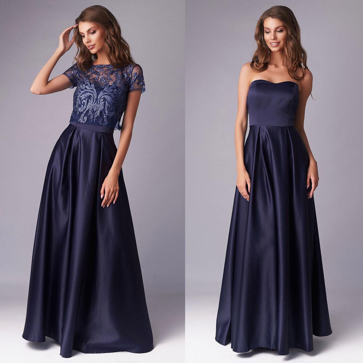 """Сукня синє вечірнє максі зі знімним топом """"Меллоні"""""""