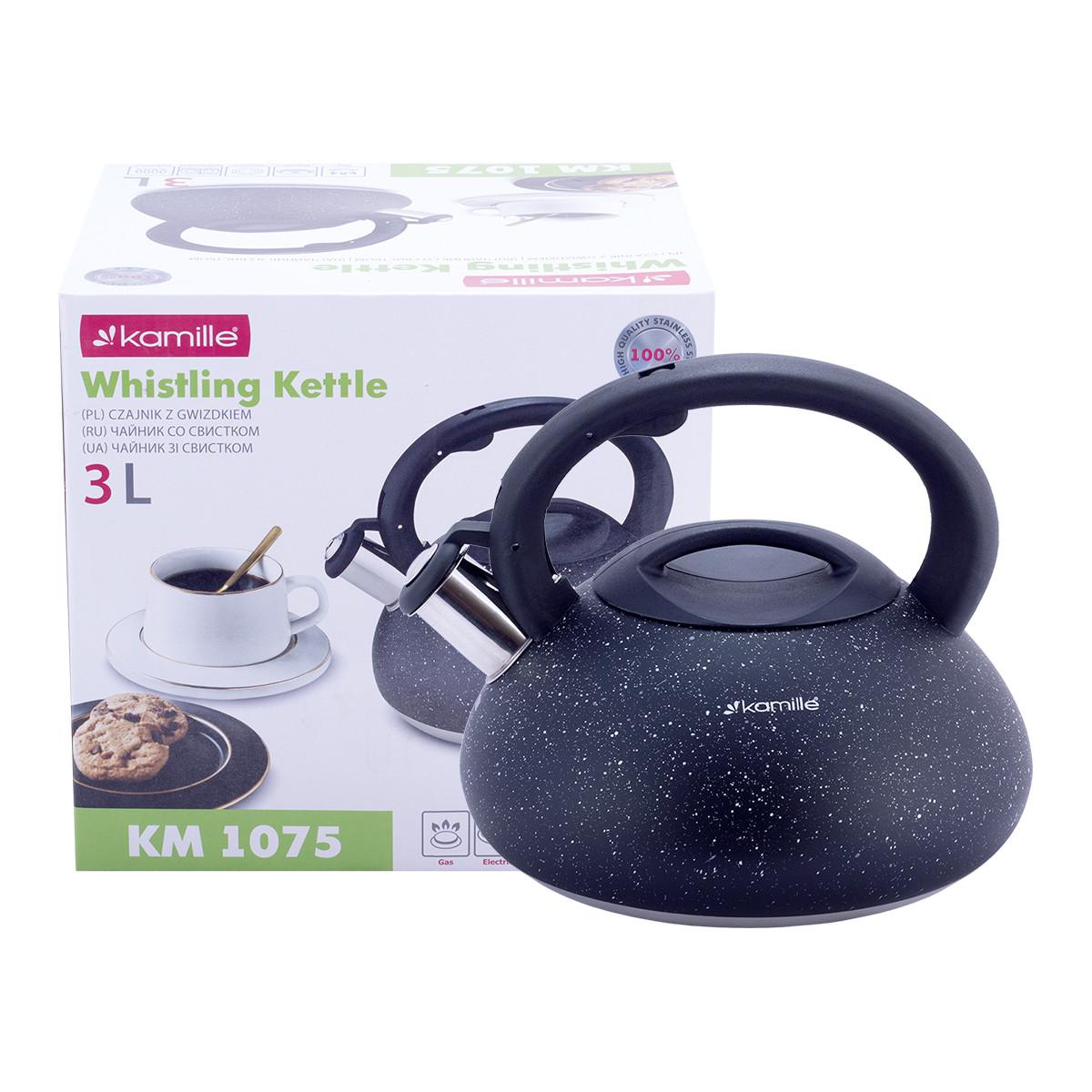 Чайник Kamille 3л из нержавеющей стали со свистком и нейлоновой ручкой для индукции и газа KM-1075