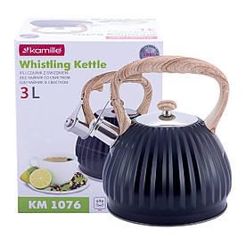 Чайник Kamille 3л из нержавеющей стали со свистком и нейлоновой ручкой для индукции и газа KM-1076