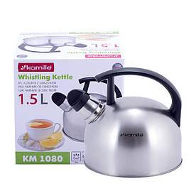 Чайник Kamille 1,5л из нержавеющей стали со свистком  для индукции и газа KM-1080