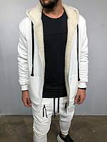 Кофта мужская тёплая белая с капюшоном на молнии с овчиной внутри зимняя мужская белая кофта