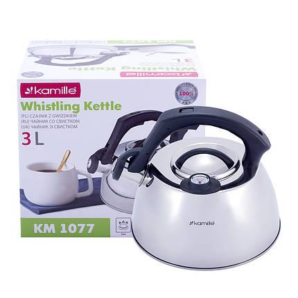 Чайник Kamille 3л из нержавеющей стали со свистком и термометром для индукции и газа KM-1077, фото 2