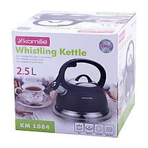 Чайник Kamille 2,5л из нержавеющей стали со свистком и бакелитовой ручкой для индукции и газа KM-1084, фото 2