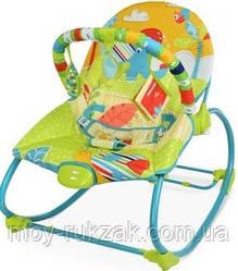 Детский шезлонг-качалка, музыкальная, с подвесками, Bambi, салатовый, 61*44*59см см, 6920