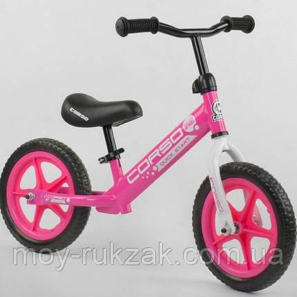 """Велобег детский """"CORSO"""",колеса EVA 12 дюймов, 21001, розовый, фото 2"""