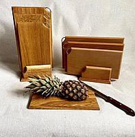 Набор разделочных буковых досок 3шт. на деревянной или железной подставке